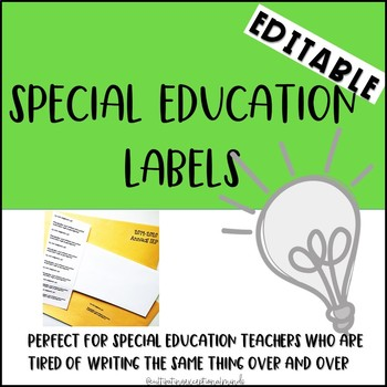 Editable Labels for Special Education Teachers