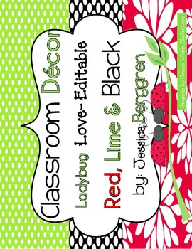 Editable Labels in Ladybug Love {red, lime and black}