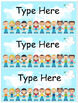 Editable Labels in Six Sizes - Children of the World Theme