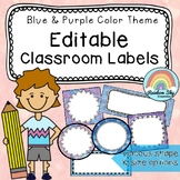 Editable Labels / name tags / Watercolor Blue and Purple Colour Theme