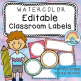 Editable Labels / name tags / Watercolor rainbow themed