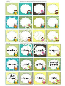 Editable Labels or tags (Owl theme) classroom decoration