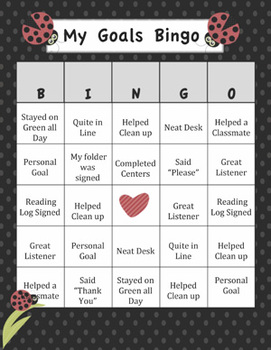 Editable Lady Bug Bingo - Math, Reading, Behavior or much more!