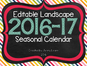 Editable Landscape 2016-17 Seasonal Calendar