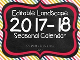 Editable Landscape 2017-18 Seasonal Calendar
