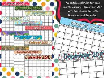 Editable Landscape 2017 Seasonal Calendar