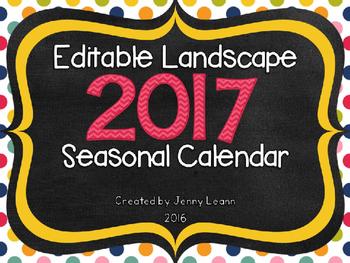 Editable Landscape 2017 Seasonal Calendar