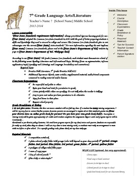 Editable Language Arts/Literature Syllabus Welcome Letter with CCSS emphasis