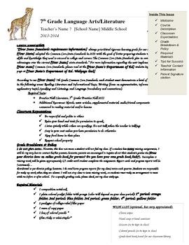 Editable Language Arts/Literature Syllabus Welcome Letter