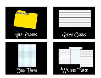 Editable Large Black Classroom Supply Labels - Swirly Font
