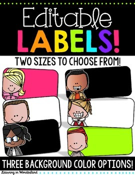 Editable Labels | Bright and Colorful | Classroom Decor