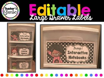Editable Large Stearlite 3 Drawer Bin Labels