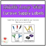 Editable Large White Classroom Supply Labels - Cursive Font