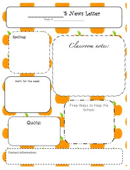 Classroom Newsletters Leaf and Pumpkin Newsletter Templates