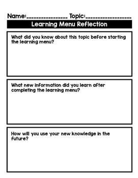 Editable Learning Menu Template: Use with Any Topic!