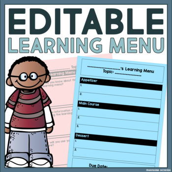Editable Learning Menu: Great For Any Subject!