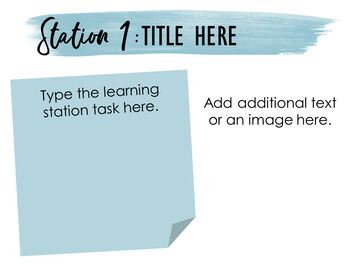 Editable Learning Stations Template: Blue Sticky Note Theme
