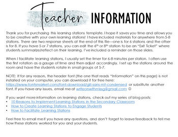 Editable Learning Stations Template: Frosted Theme