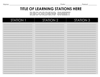 Editable Learning Stations Template: Tropical Theme