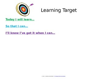 Editable Learning Target Poster