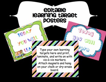 Editable Learning Targets Printable Posters ~ PowerPoint