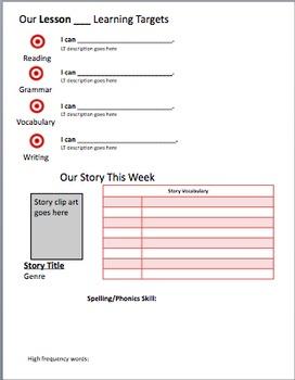 Editable Learning Targets sheet/Journeys weekly newsletter
