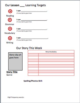Editable Learning Targets sheet/Journeys weekly newsletter