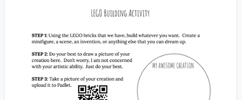 Editable Lego Building Descriptive Writing Activity