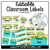 Editable Lemon Shiplap Classroom Labels (Includes Scrapboo