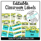 Editable Lemon Shiplap Classroom Labels (Includes Scrapboo