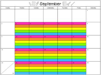 Editable Lesson Calendar