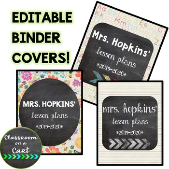 Editable Lesson Plan Binder Covers {Chalkboard Theme} FREEBIE