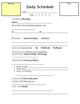 Editable Lesson Plan Daily Schedule