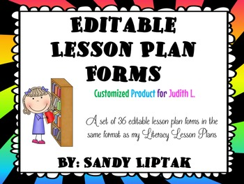 Editable Lesson Plan Forms