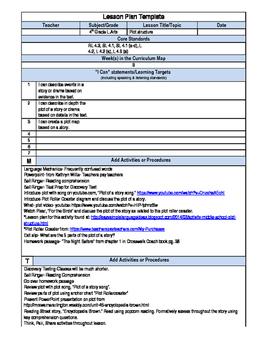 Editable Lesson Plan- Plot (RL.4.3)