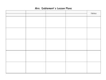 Editable Lesson Plan Template (8.5 x 11 landscape) by Heather ...