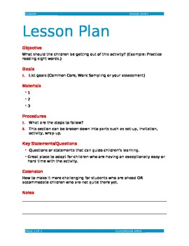 Editable Lesson Plan Template Doc By Dorothy Shackelford TpT - Lesson plan template doc