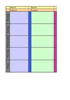 Editable Lesson Plan Template for Excel