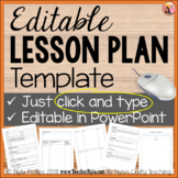 Editable Lesson Plan Template in PowerPoint - Just Type -individual lesson plans