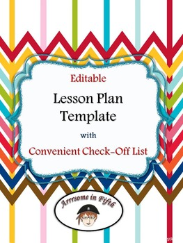 Back to School Editable Lesson Plan Template with Convenient Check-Off Lists