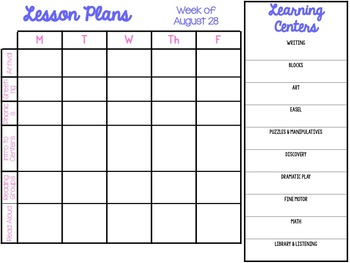 Editable Lesson Plan Templates & Schedule