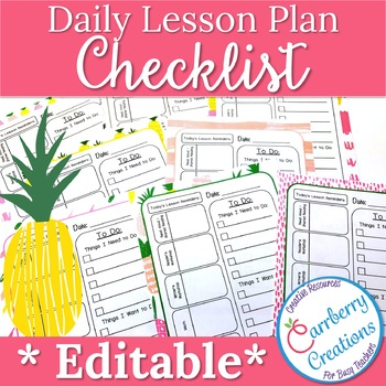 Editable Lesson Planner Daily Checklist with Pineapples