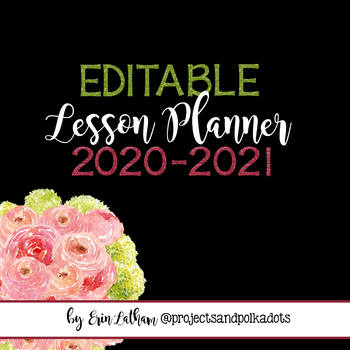 Editable Lesson Planner: Pink and Black for 2018 & 2019