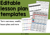 Editable Lesson Planning Documents - term overview, weekly