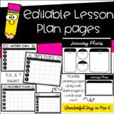 Editable Lesson Planning Pages