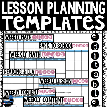 Lesson Planning Templates - Editable and Landscape