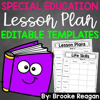 Editable Lesson Plan Templates: Special Education