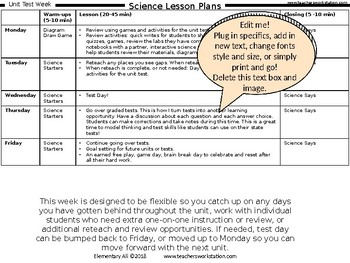 Editable Lesson Plans for Science (Just add specifics!)