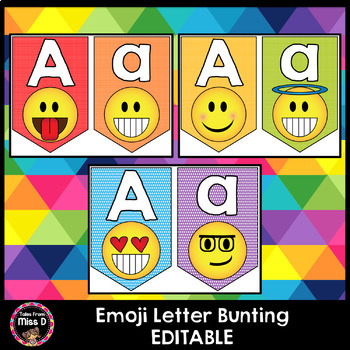 Editable Emoji Letter Bunting