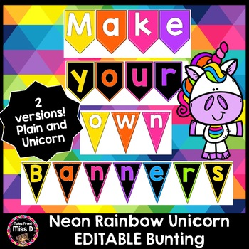 Editable Letter Bunting - Neon Rainbow Unicorn